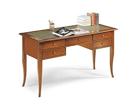Scrivania In Legno.Vintage Home Scrivania In Legno Con Top In Pelle Da 150