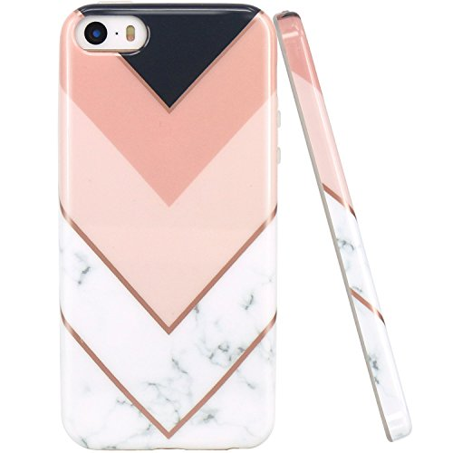 JIAXIUFEN Geometric Pink White Marble Slim Shockproof Flexible Bumper TPU Soft Case Rubber Silicone Cover Phone Case Compatible with iPhone 5 5S