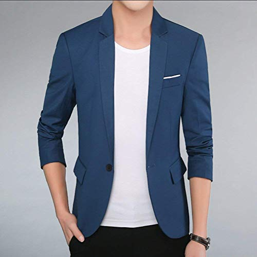 Hommes Blazers Fit Élégant Business Automne Slim Vêtements Revers Saphirblau Vestes Suit Sports Casual Loisirs r80rqa