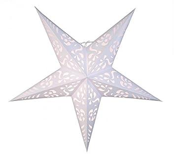 Beleuchtung Papierstern | Beleuchtung Papier Stern 5zackig Weiss 60cm Ohne Kabel Amazon De
