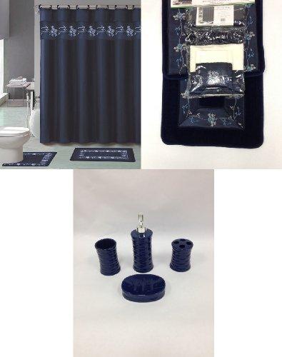 22 piece bath accessory set navy blue flower bathroom rug for Bathroom accessories uae