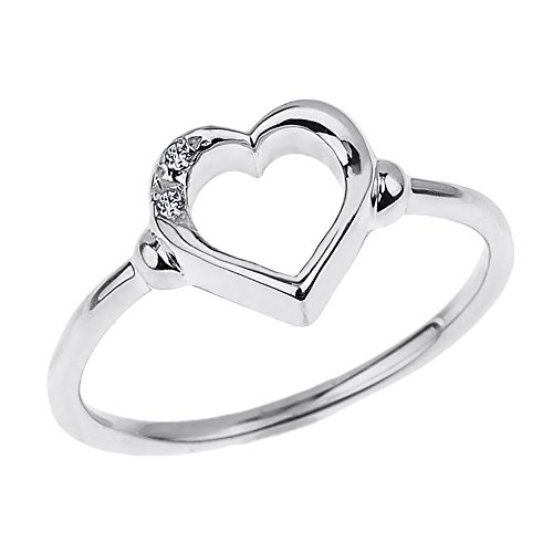(Modern Contemporary Rings Fine 10k White Gold Dainty Band 2-Stone Diamond Open Heart Ring (Size 7))