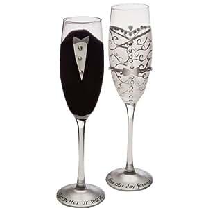 "Set of 2 Handpainted Bride & Groom Champagne Toasting Flute Glasses 9"""