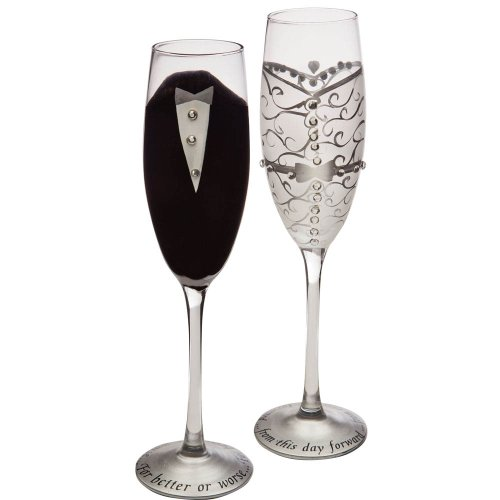(Cypress Home Hand-Painted 8 oz. Bride and Groom Wedding Champagne Toasting Flute Glasses, Set of 2 - Metallic Accents - 6.75