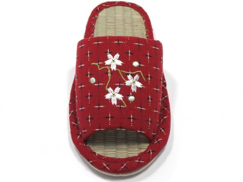 Women LIFE GREEN KNP Flower KNP26809T Red Bamboo Indoor with Slippers Jpanese Tatami 50x4BwHq