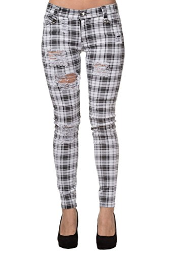 Women's White Banned Ripped Tartan Plaid Check Emo Punk Skinny Jeans Pants Trousers - - Banned Jeans