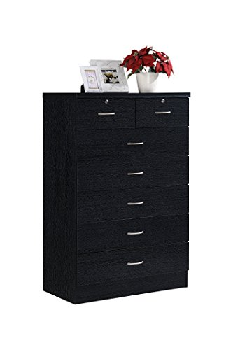 - Hodedah 7 Drawer Chest, Five Large Drawers, Two Smaller Drawers with Two Locks, Black