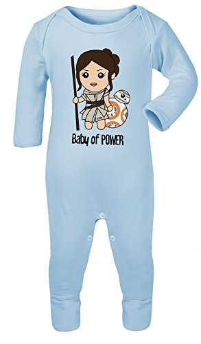 Rey and BB-8 Star Wars Baby of Power Print Baby Footed Pajamas Hypoallergenic (Sky Blue, 6-12 -