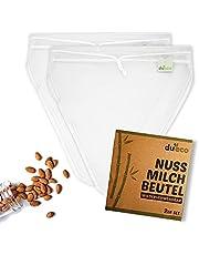 DuEco Nussmilchbeutel mit 2 Stück V-form 28 x 30 cm für Bio Nussmilch - Mehrzweck Passiertuch für hausgemachten Käse