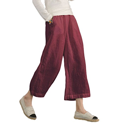 Ecupper Womens Casual Loose Plus Size Elastic Waist Cotton Trouser Cropped Wide Leg Pants Wine Red -