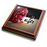 3dRose RinaPiro - Sex Quotes - Good night. Sleep tight. Romantic red rose. - 8x8 Trivet with 6x6 ceramic tile (trv_261468_1)