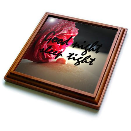 3dRose RinaPiro - Sex Quotes - Good night. Sleep tight. Romantic red rose. - 8x8 Trivet with 6x6 ceramic tile (trv_261468_1) by 3dRose