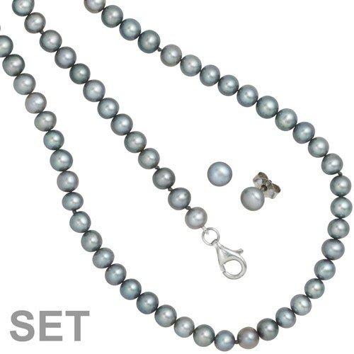 Parure Collier & Boucles d'oreilles & Bracelet Perles d'eau douce gris argent 925