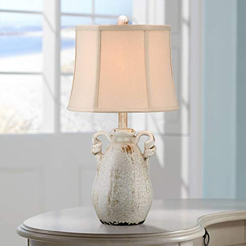 Beige Ceramic Table Lamp - Sofia Cottage Accent Table Lamp Rustic Ceramic Crackle Ivory Jar Beige Bell Shade for Living Room Family Bedroom Bedside - Regency Hill