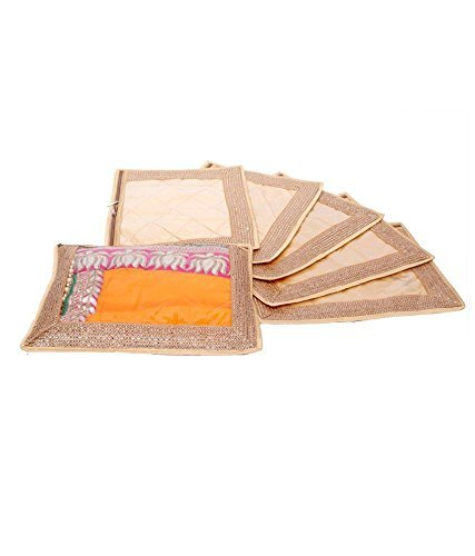 Kuber Industries Single Packing Saree Cover Set of 6 Pcs (Designer Lace) Gold