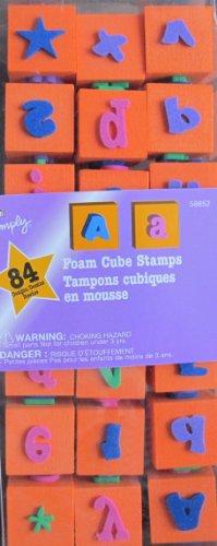 Plaid Foam Cube STAMPS: 21 Stampers w 84 Designs (Orange Color Cubes)