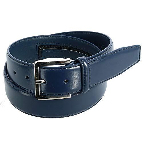 CTM Men's Leather Travel Money Belt (Large Sizes Available), 34, Navy