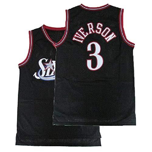 94247812fb6 Youth Iverson Jersey Philadelphia 3 Kid s Allen Basketball Jersey Black(S-XL)  (XL)