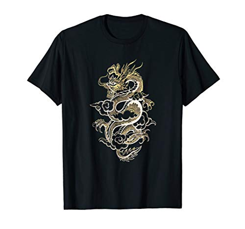 Asian Dragon Art, Gold and White, Dragons Believer Gift, Dk (Shirt Dragon White Gold)