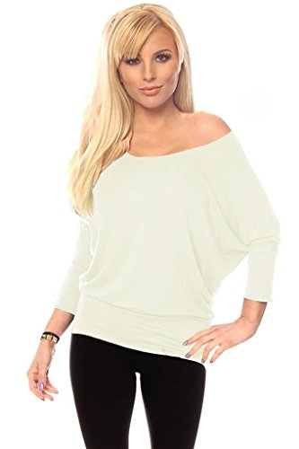 Womens Jersey Off the Shoulder Sweater Top Round Scoop Neck,Ivory,Medium