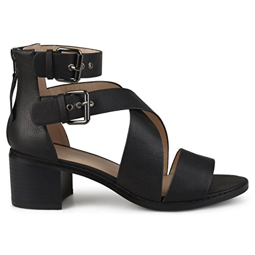(Brinley Co. Womens Stacked Wood Heel Faux Leather Double Ankle Strap Sandals Black, 9 Regular US)