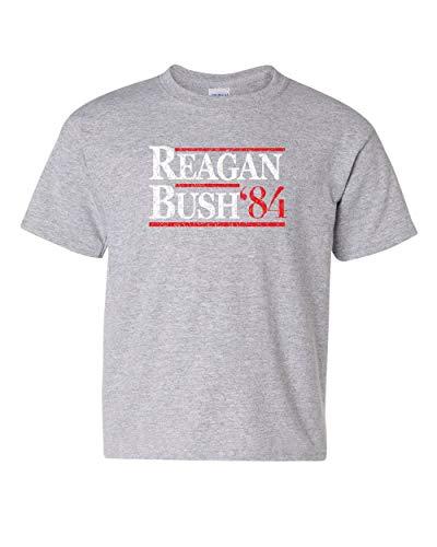 (Reagan Bush '84 Youth T-Shirt Ronald American President History GOP Kids Tee Gray L)