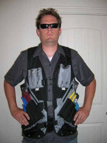 High Visibility Tool Vest with Built in Hydration Pouch - Electricians, Surveyors, Contruction (Orange) by Vest Tech (Image #3)