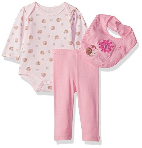 rene rofe baby Little niños recién nacido body, pantalones y babero de 3piezas, Rosado (Pink Butterfly), 3-6 Months