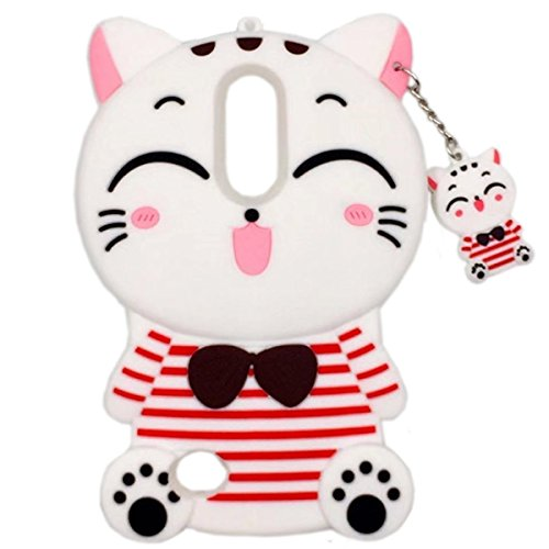 Samsung Galaxy S9 Plus Case, Maoerdo Cute 3D Cartoon White Stripes Plutus Cat Lucky Fortune Cat Kitty with Bow Tie Silicone Rubber Phone Case Cover for Samsung Galaxy S9 Plus (6.2 inch)