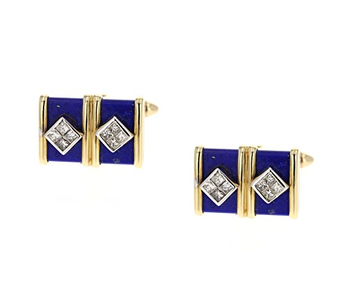 - Cuff Links, 14K Yellow Gold with Lapis and Diamonds. 0.80Ct Tcw