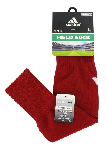 - adidas Field Sock II (Cardinal Red/White, Men's Shoe Size 9-13 or Women's Shoe Size 10-12), Large