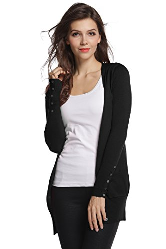 Sofishie Stylish V-Neck Button Down Cardigan - Black - XL ()