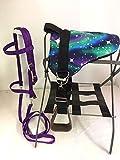 Party Ponies Miniature Horse/SM Pony Bareback Saddle PAD Set with BITLESS Bridle - Purple Stary Night Set