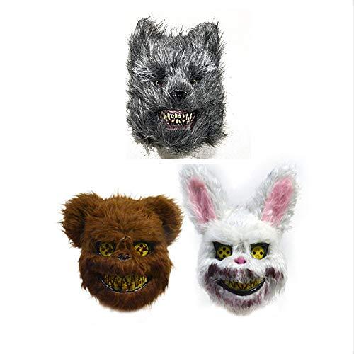 Mr.G 3 PACS Halloween Horror Mask Prank Evil Bloody Rabbit/Bear/Wolf Mask Plush Animal Bunny Scary Mask Horror Killer ()