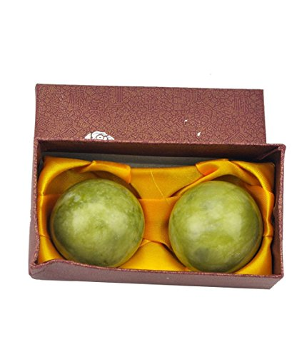 Large Natural Jade Green Stone Baoding Chinese Health Balls Exercise Stress Hand Relief With Box (Statue With Ball Lion)