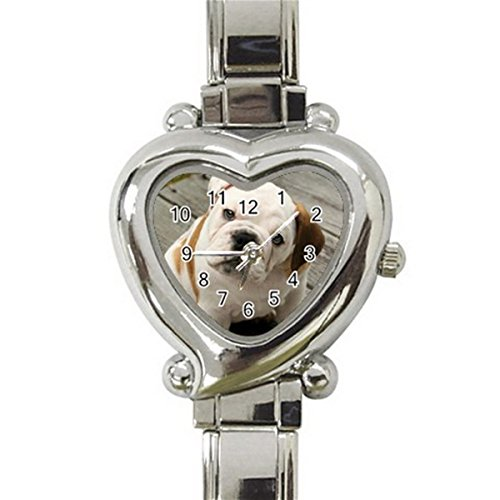 English Bulldog Heart Italian Charm Watches Stainless Steel for Women HOT Gift NEW