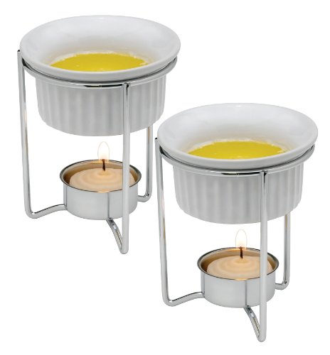 HIC Butter Warmers with Tealight Stand, White, Ceramic, Set of 2 by HIC Harold Import Co. (Image #1)