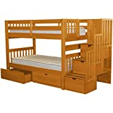 Lovely Bedz King Stairway Bunk Beds Twin Over Twin With 3 Drawers In The Steps And  2