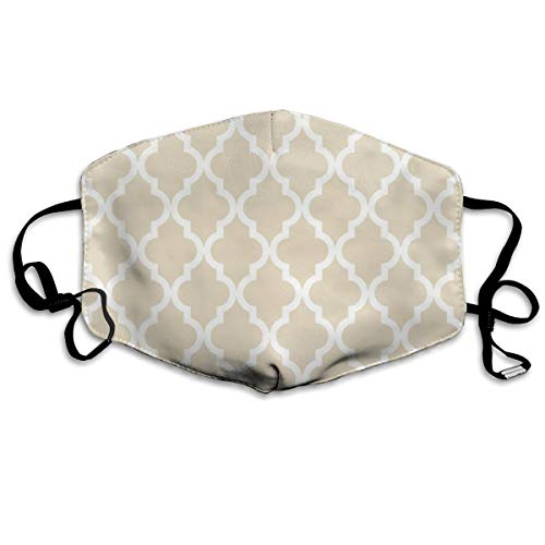 Whages Moroccan Quatrefoil Pattern∶ Muslin Beige Washable Reusable Safety Breathable Mask, 4.3