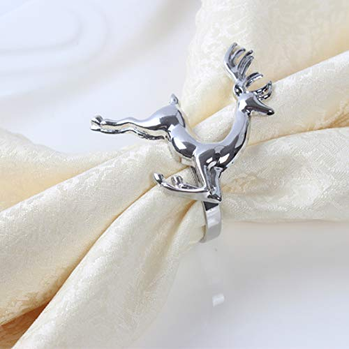 12pcs/lot Christmas Deer Napkin Rings Silver Gold Alloy Napkin Buckle Banquet Party - D44 Ring