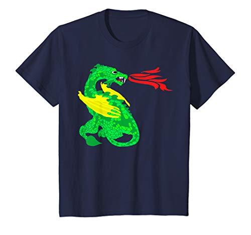 Breathing Fire Dragon T-shirt (Kids Cute Dragon Magical Fire Dragons Boys Girls Gift T Shirt)