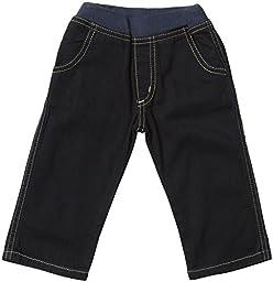 Charlie Rocket Baby Boys\' Rib Waist Denim Pants (Baby) - Navy - 6-9 Months