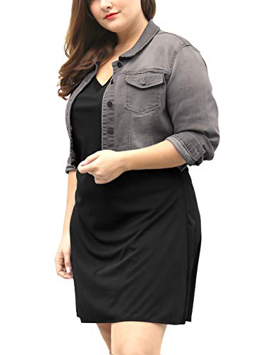 uxcell Women's Plus Size Button Closed Cropped Denim Jacket Gray 2X
