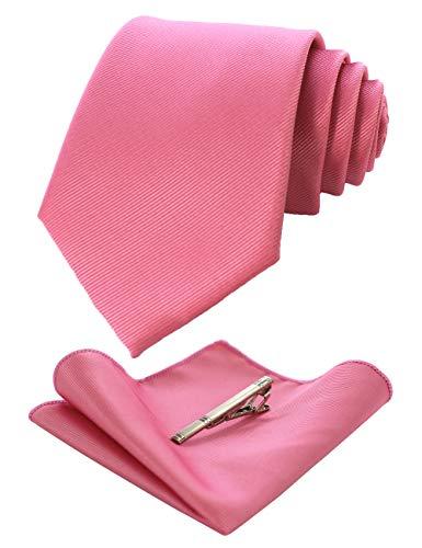 JEMYGINS Pink Formal Necktie and Pocket Square Tie Clip Sets for Men (37) (Plain Pocket Square)