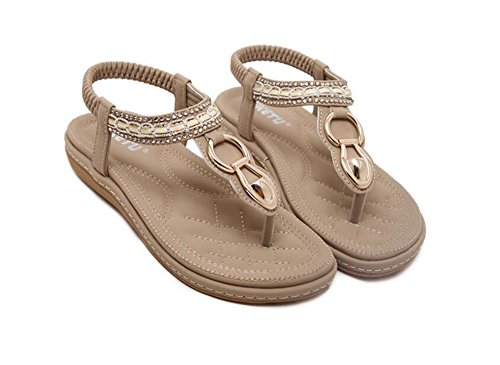 Sandals Womens Comfortable Sandals Strap T Rhinestones Summer Flat Shoes Beige Beach ptcPwqpFra