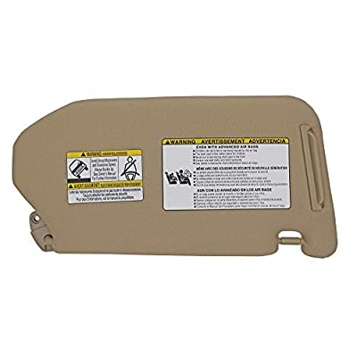 State Warehouse 96401-9PB0A Left Driver Sun Visor Fit for Nissan Pathfinder 2013 2014 2015 2016 2020 2020 Compatible with Infiniti QX60 2014-2020 with Lamp-Beige: Automotive