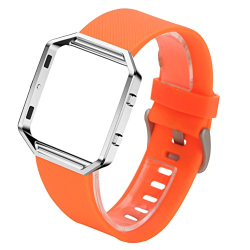 SODIAL Silicone Watch Band + Metal Frame For Fitbit Blaze Smart Watch Orange+Silver For Sale