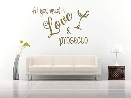 All you need is love and Prosecco, Vinilo decorativo, mural, casa, hogar, decoración de paredes, salón, recibidor…