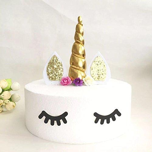Astra Gourmet Handmade Unicorn Cake Toppers Set, Include Unicorn Horn, Ears, and Eyelash, Unicorn Party Decor