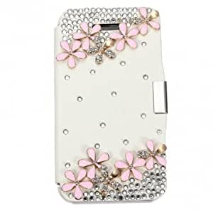 Lovely Pattern Diamond Design PU Leather Case Cover For iPhone 4 4S --- Color:Sky Blue